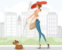 Dame die met een hond lopen vector illustratie