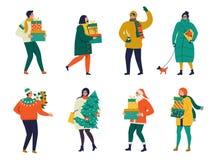 Dame, die mit Hund geht, tragen ein Weihnachtsgeschenk Frohe Weihnachten und guten Rutsch ins Neue Jahr Grußkarte der frohen Weih stock abbildung