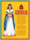 Dame, die namaste Gesten-Vertretungswillkommen auf Indien-Hintergrund tut vektor abbildung