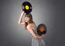 Dame die vinylverslag houden royalty-vrije stock foto's