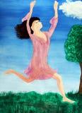 Dame durchschnittlicher Himmel und Erde springen Stockfotografie