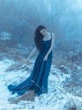 Dame in einem üppigen blauen Luxuskleid Stockfotografie