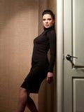 Dame in einem dunklen eleganten Kleid stockbild