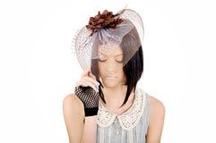 Dame in einem Hut Stockbild