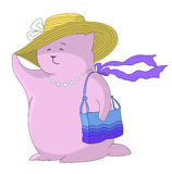 Dame in einem Hut mit einer Handtasche Lizenzfreies Stockfoto