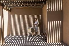 Dame am Eingang des Arizona-Sonorawüstenmuseums Lizenzfreie Stockbilder