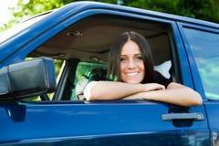 Dame en auto Stock Foto