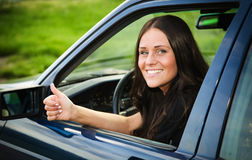 Dame en auto Stock Fotografie