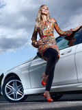 Dame en een auto Stock Fotografie