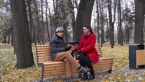 Dame en heer in park stock video