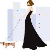 Dame en hond vector illustratie