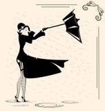 dame en regen vector illustratie