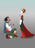 Dame en ridder Stock Fotografie