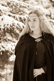 Dame en sneeuw royalty-vrije stock foto's