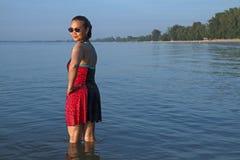 Dame entspannen sich mit Sonnenschein Stockfotos