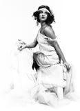 Dame exquise dans le boudoir, rétro, b&w Image libre de droits