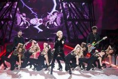 Dame Gaga presteert tijdens de Geheime Modeshow van Victoria ` s Royalty-vrije Stock Foto's