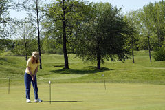 Dame Golfer On Practice Green Stockbilder