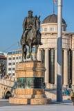 Dame Gruev-Reitermonument in Skopje lizenzfreie stockbilder