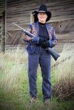 Dame Gunman Lizenzfreie Stockbilder