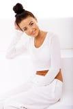 Dame in het Concept van het Wit, van de Gezondheid en van het Welzijn stock afbeeldingen
