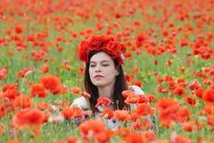 Dame het plukken bloemen Royalty-vrije Stock Foto