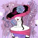 Dame in hoed met bloem Stock Foto's