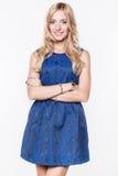 Dame im blauen Kleid Lizenzfreies Stockbild