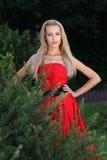Dame im Rot draußen Lizenzfreie Stockfotografie