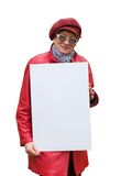 Dame im Rot hält ein leeres Plakat an. Stockbilder