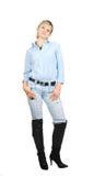 Dame in jeans. stock foto's