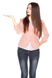 Dame in jeans en blazer, die op wit wordt geïsoleerd royalty-vrije stock afbeelding
