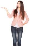 Dame in jeans en blazer, die op wit wordt geïsoleerd stock foto