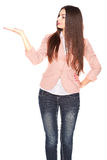 Dame in jeans en blazer, die op wit wordt geïsoleerd stock foto's