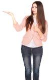 Dame in jeans en blazer, die op wit wordt geïsoleerd royalty-vrije stock foto