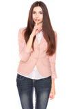 Dame in jeans en blazer, die op wit wordt geïsoleerd royalty-vrije stock foto's