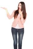 Dame in jeans en blazer, die op wit wordt geïsoleerd royalty-vrije stock afbeeldingen