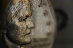 Dame Liberty op Dollarmuntstuk stock afbeeldingen