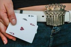 Dame Luck en haar Azen Stock Foto's