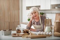 Dame mûre heureuse préparant la pâtisserie à la maison Image libre de droits