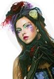 Dame met artistieke samenstelling Doll stijl Royalty-vrije Stock Fotografie