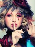 Dame met artistieke samenstelling Doll stijl Stock Foto