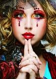 Dame met artistieke samenstelling Doll stijl Stock Afbeeldingen