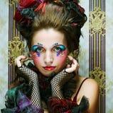 Dame met artistieke samenstelling Doll stijl Royalty-vrije Stock Foto's