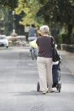 Dame met baby in een kinderwagen Stock Afbeelding