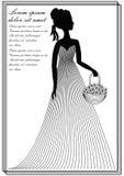 Dame met bloemmand, de zwart-wit tekening van de lijnkunst in victorian stijl, uitnodigingsmalplaatje, aankondiging, pamflet, vli Stock Fotografie
