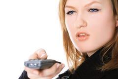 Dame met een afstandsbediening Stock Afbeelding