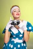 Dame met een camera Stock Foto's
