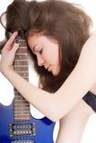 Dame met een gitaar Stock Afbeelding