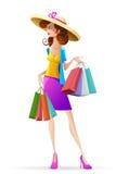 Dame met het Winkelen Zak stock illustratie